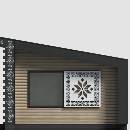 Sauna Wooden beams perforated steel sliding shutter